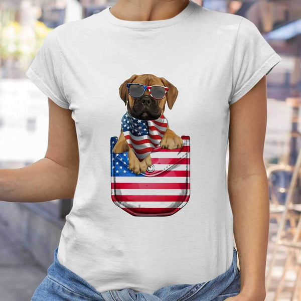 Bullmastiff Pocket American Flag Independence Day T-shirt S By AllezyShirt