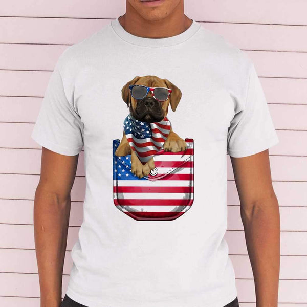 Bullmastiff Pocket American Flag Independence Day T-shirt M By AllezyShirt