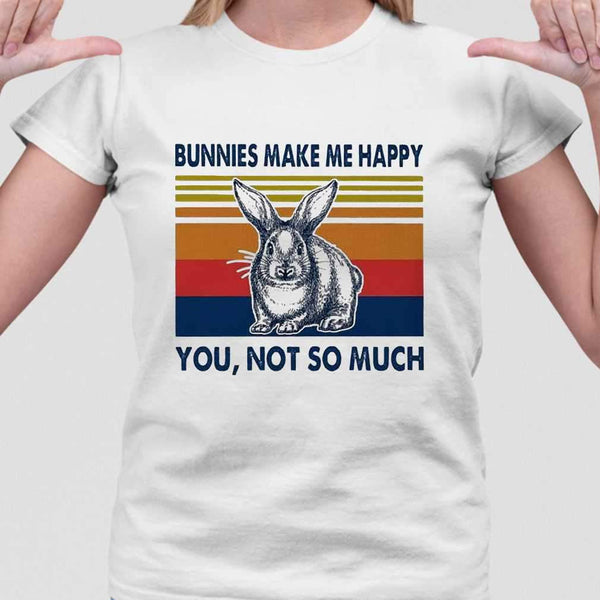 Bunnies Make Me Happy You Not Much Vintage T-shirt M By AllezyShirt