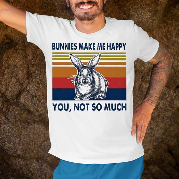 Bunnies Make Me Happy You Not Much Vintage T-shirt S By AllezyShirt