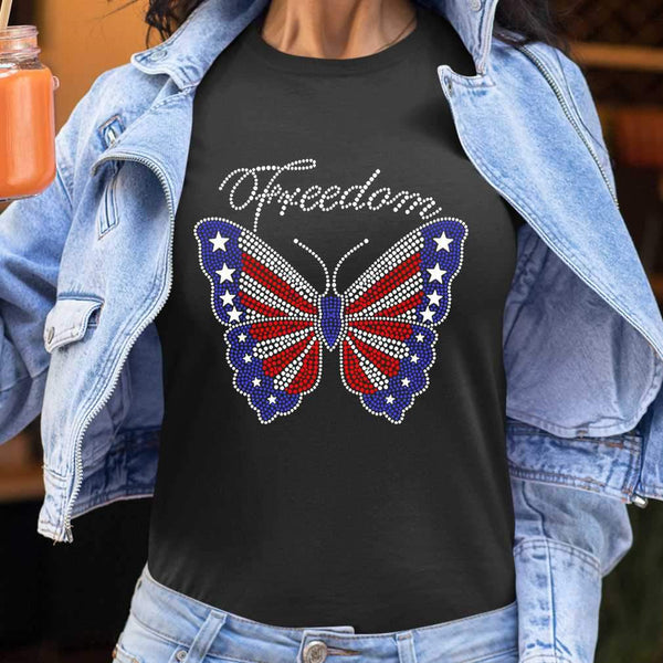 Butterfly Freedom 4Th Of July Usa Flag Glitter T-shirt S By AllezyShirt