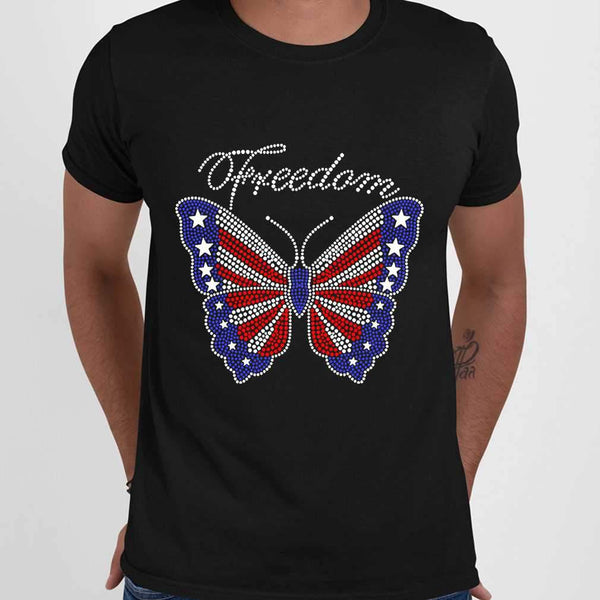 Butterfly Freedom 4Th Of July Usa Flag Glitter T-shirt M By AllezyShirt