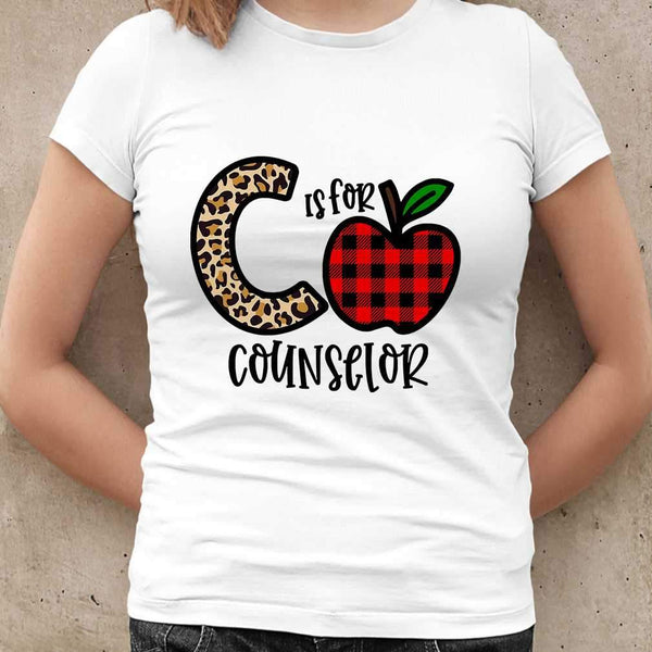 C Is For Counselor Apple Buffalo Plaid T-shirt M By AllezyShirt