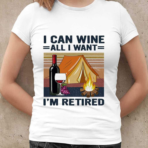 Camping I Can Wine All I Want I'm Retired Vintage Retro  T-shirt M By AllezyShirt
