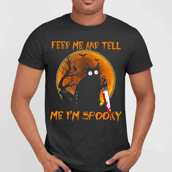Cat Feed Me And Tell Me I'm Spooky Halloween Blood Moon T-shirt M By AllezyShirt