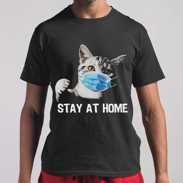 Cat Mask Stay At Home T-shirt M By AllezyShirt