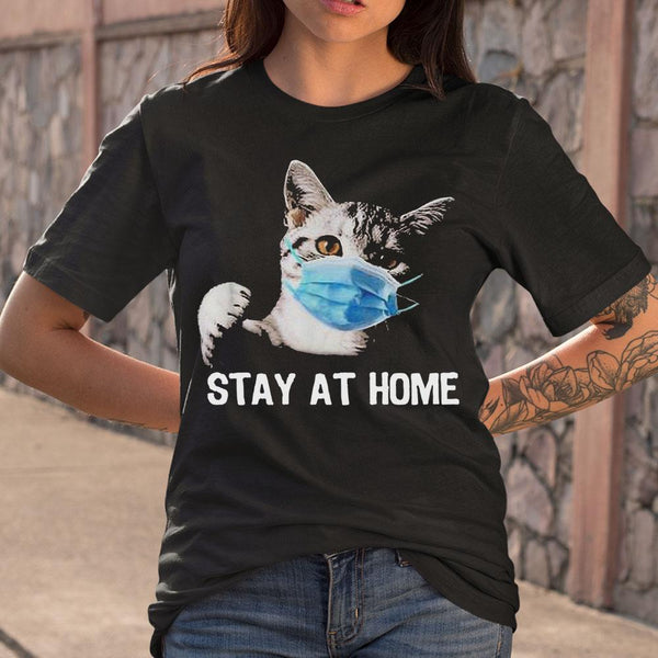 Cat Mask Stay At Home T-shirt S By AllezyShirt