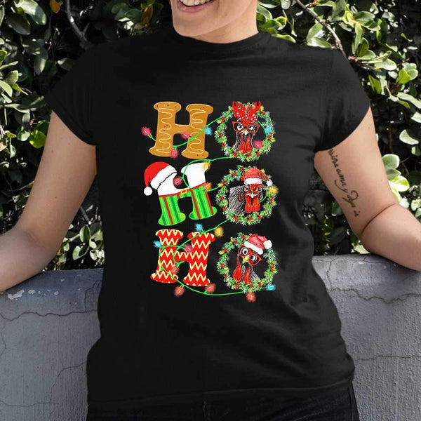 Chicken Hohoho Christmas T-shirt S By AllezyShirt