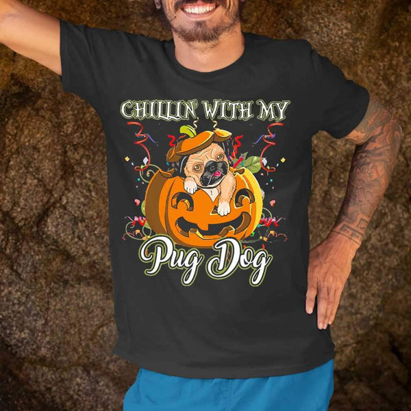 Chillin With My Pug Dog Halloween Pumpkin T-shirt S By AllezyShirt
