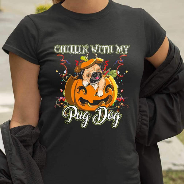 Chillin With My Pug Dog Halloween Pumpkin T-shirt M By AllezyShirt