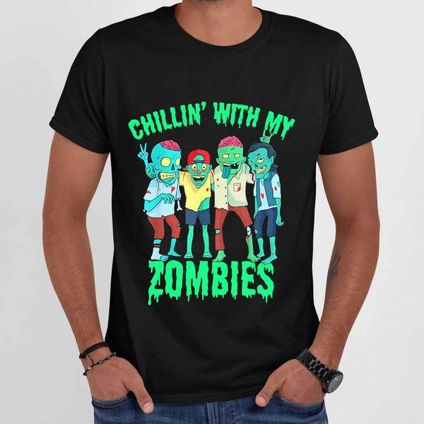Chillin With My Zombies Halloween Friends T-shirt M By AllezyShirt