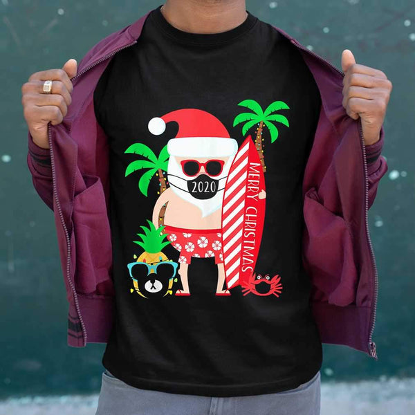 Christmas Surfing Santa With Mask T-shirt M By AllezyShirt