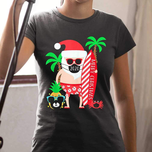 Christmas Surfing Santa With Mask T-shirt S By AllezyShirt
