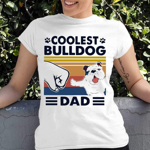 Coolest Bulldog Dad Vintage T-shirt S By AllezyShirt