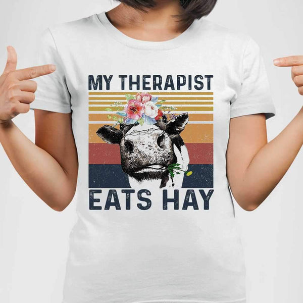 Cow My Therapist Eats Hay Flowers Vintage Retro T-shirt M By AllezyShirt