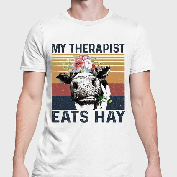 Cow My Therapist Eats Hay Flowers Vintage Retro T-shirt S By AllezyShirt