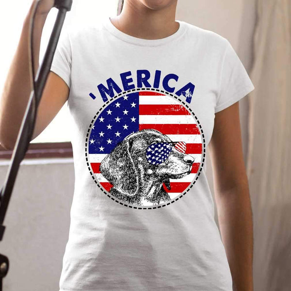 Dachshund 'Merica Flag Sunglasses Vintage 4th of July USA T-shirt S By AllezyShirt