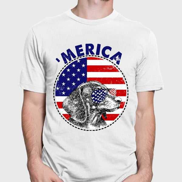 Dachshund 'Merica Flag Sunglasses Vintage 4th of July USA T-shirt M By AllezyShirt