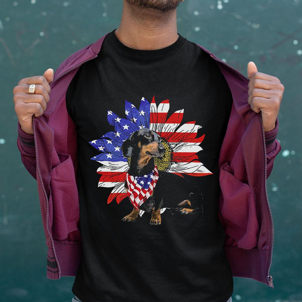 Dachshund Sunflower Usa Flag Shirt S By AllezyShirt