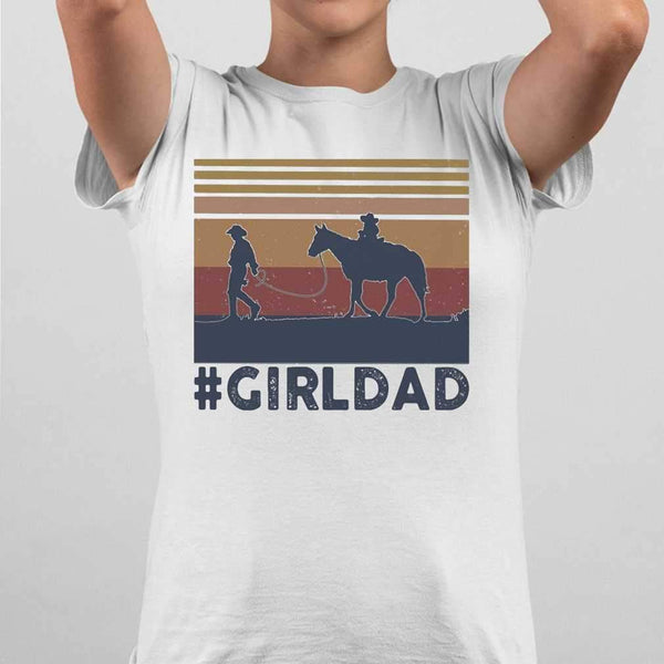 Dad And Daughter Horse Girl Dad Vintage T-shirt S By AllezyShirt