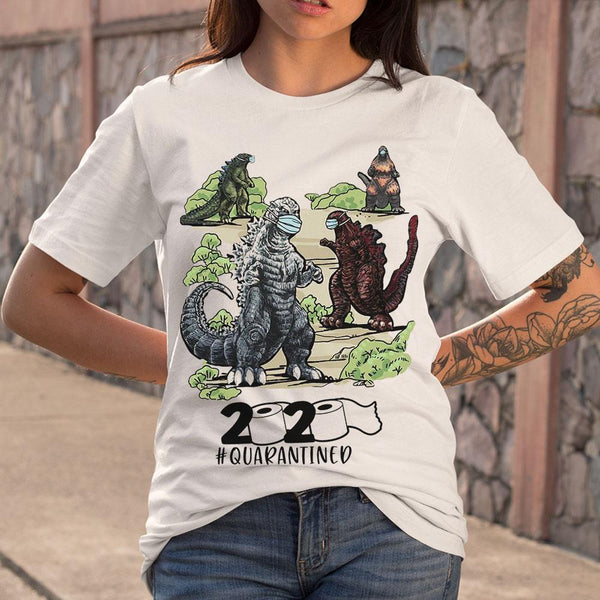 Dinosaur Face Mask 2020 Quarantined T-shirt S By AllezyShirt