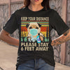 Dog Keep Your Distance Please Stay 6 Feet Away Vintage T-shirt S By AllezyShirt