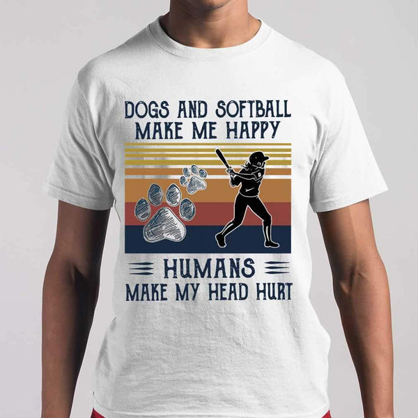 Dogs And Softball Make Me Happy Humans Make My Head Hurt Vintage T-shirt M By AllezyShirt