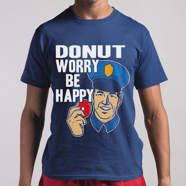 Donut Worry Be Happy Police Mens Shirt S By AllezyShirt