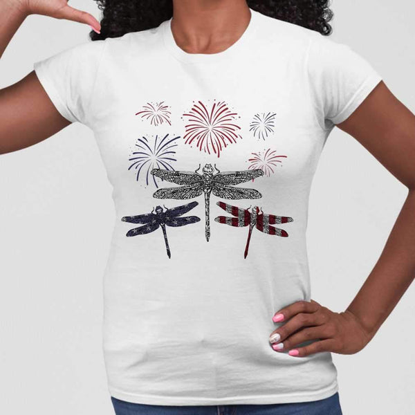 Dragonfly Firework American Flag Independence Day T-shirt S By AllezyShirt
