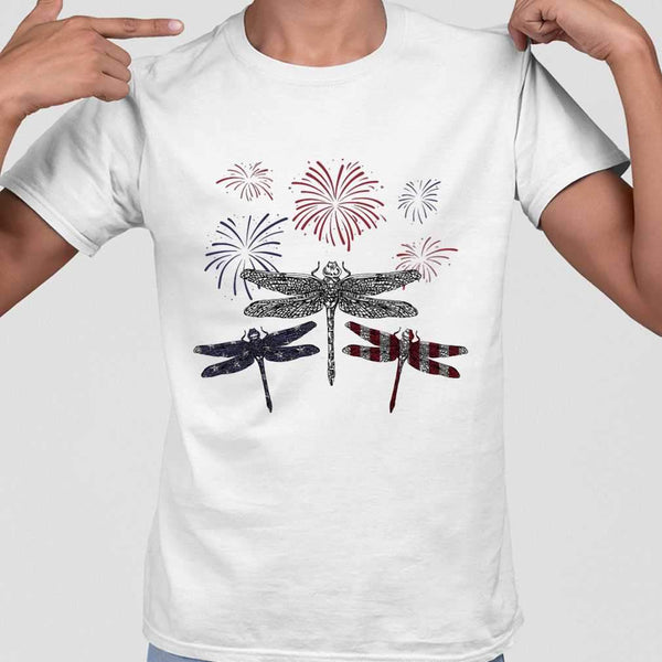Dragonfly Firework American Flag Independence Day T-shirt M By AllezyShirt
