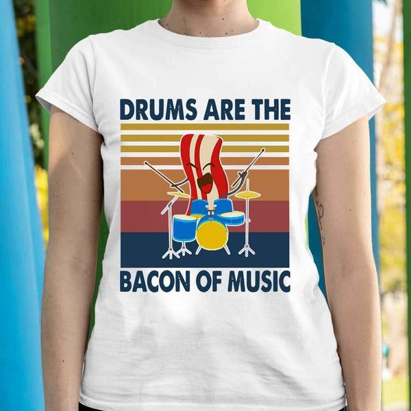 Drums Are The Bacon Of Music Vintage Retro T-shirt S By AllezyShirt
