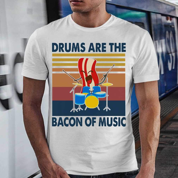Drums Are The Bacon Of Music Vintage Retro T-shirt M By AllezyShirt