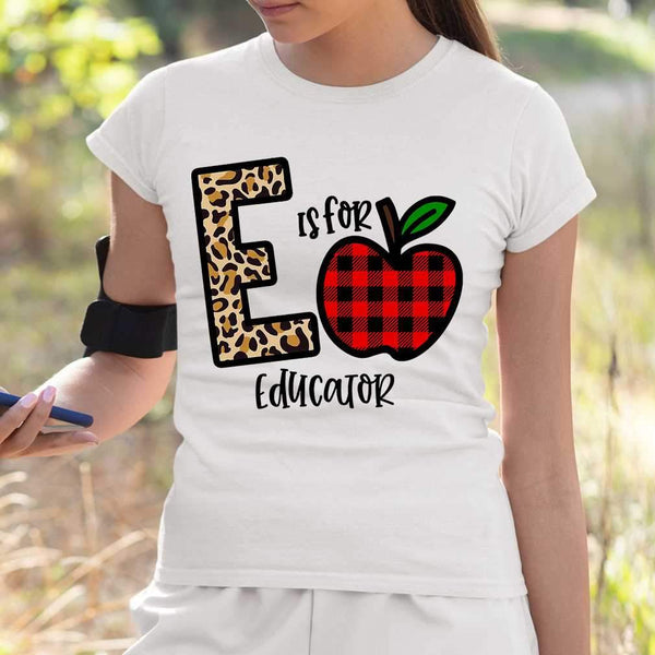 E Is For Educator Apple Buffalo Plaid T-shirt M By AllezyShirt