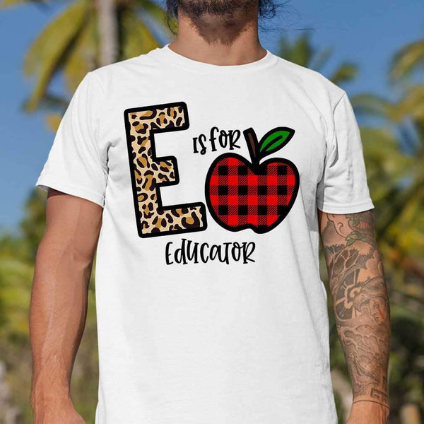 E Is For Educator Apple Buffalo Plaid T-shirt S By AllezyShirt