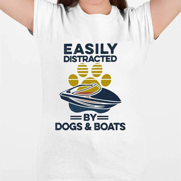 Easily Distracted By Dogs And Boats Footprint Vintage Retro T-shirt M By AllezyShirt