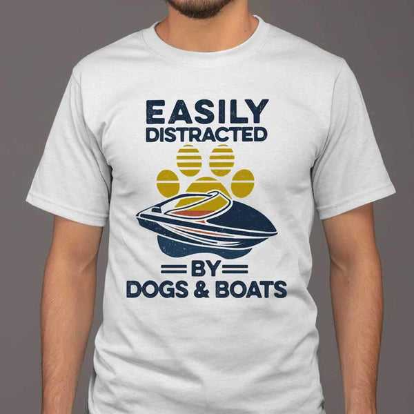 Easily Distracted By Dogs And Boats Footprint Vintage Retro T-shirt S By AllezyShirt