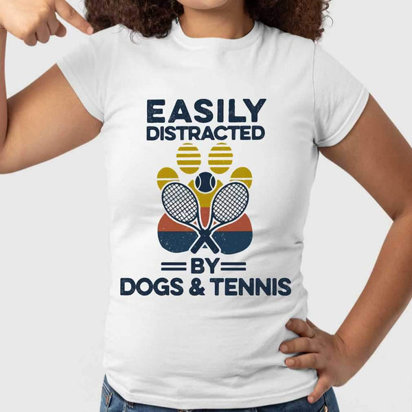 Easily Distracted By Dogs And Tennis Footprint Vintage Retro T-shirt S By AllezyShirt