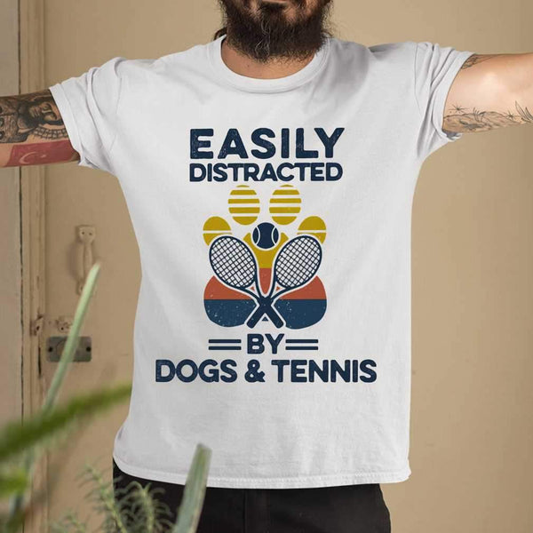 Easily Distracted By Dogs And Tennis Footprint Vintage Retro T-shirt M By AllezyShirt