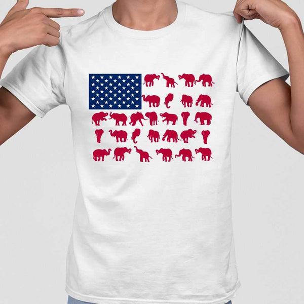 Elephant Poses American Flag 4Th Of July T-shirt M By AllezyShirt