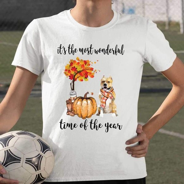 Fall Pumpkin It's The Most Wonderful Time Of The Year Amstaff T-Shirt S By AllezyShirt