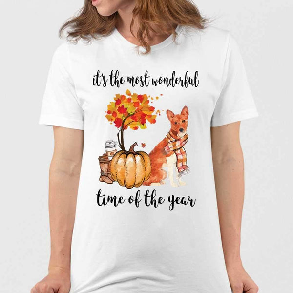 Fall Pumpkin It's The Most Wonderful Time Of The Year Basenji T-Shirt M By AllezyShirt