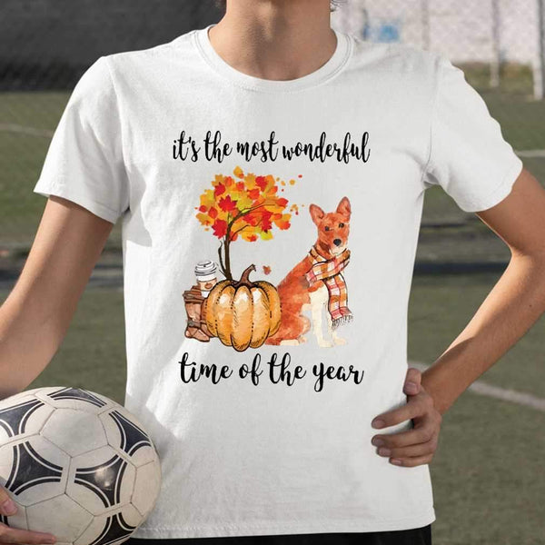 Fall Pumpkin It's The Most Wonderful Time Of The Year Basenji T-Shirt S By AllezyShirt