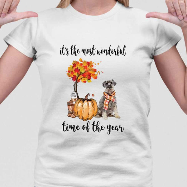 Fall Pumpkin It's The Most Wonderful Time Of The Year Schnauzer T-Shirt M By AllezyShirt