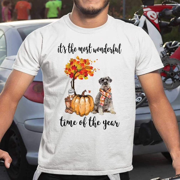Fall Pumpkin It's The Most Wonderful Time Of The Year Schnauzer T-Shirt S By AllezyShirt