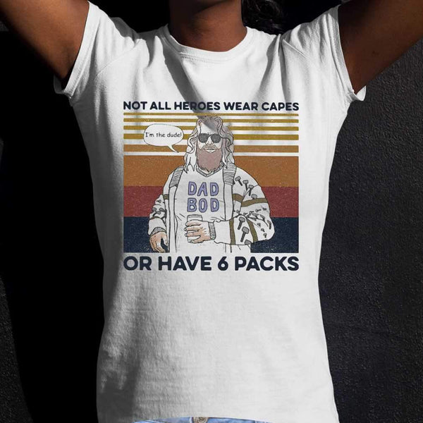 Fat Dad Boy Not All Heroes Wear Capes Of Have 6 Packs Vintage T-shirt M By AllezyShirt