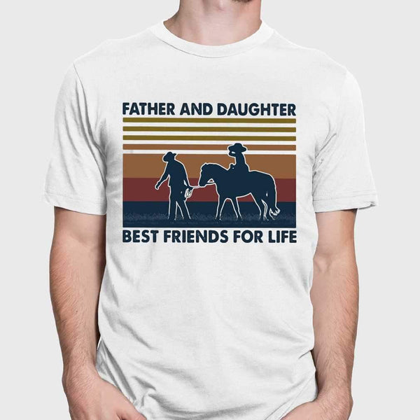 Father And Daughter Best Friends For Life Horse Vintage T-shirt M By AllezyShirt