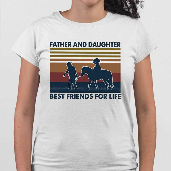 Father And Daughter Best Friends For Life Horse Vintage T-shirt S By AllezyShirt