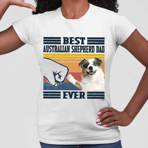 Father's Day Best Australian Shepherd Dad Ever Vintage T-shirt M By AllezyShirt