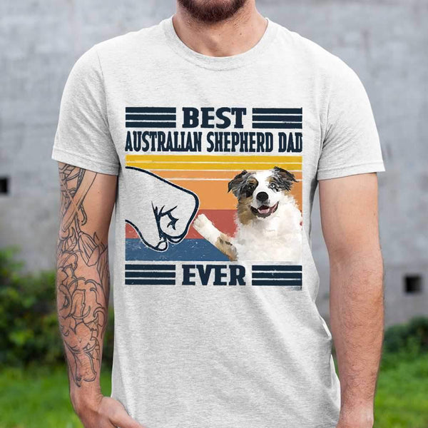 Father's Day Best Australian Shepherd Dad Ever Vintage T-shirt S By AllezyShirt