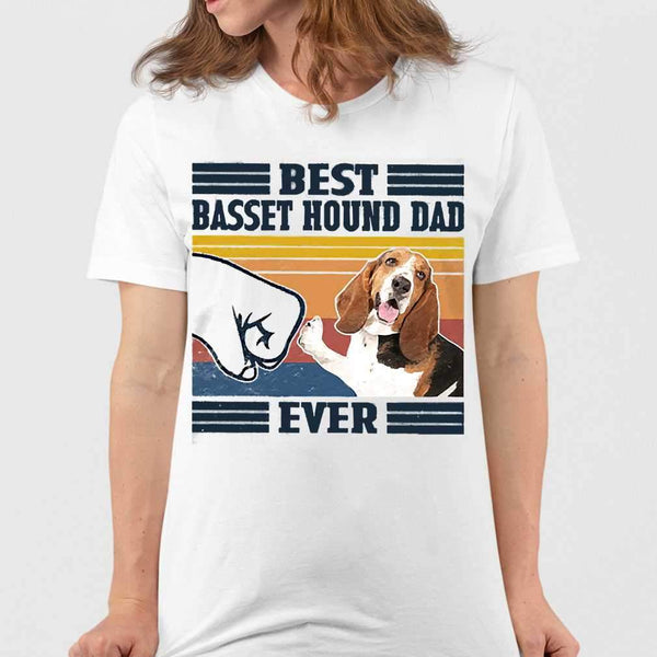 Father's Day Best Basset Hound Dad Ever Vintage T-shirt M By AllezyShirt